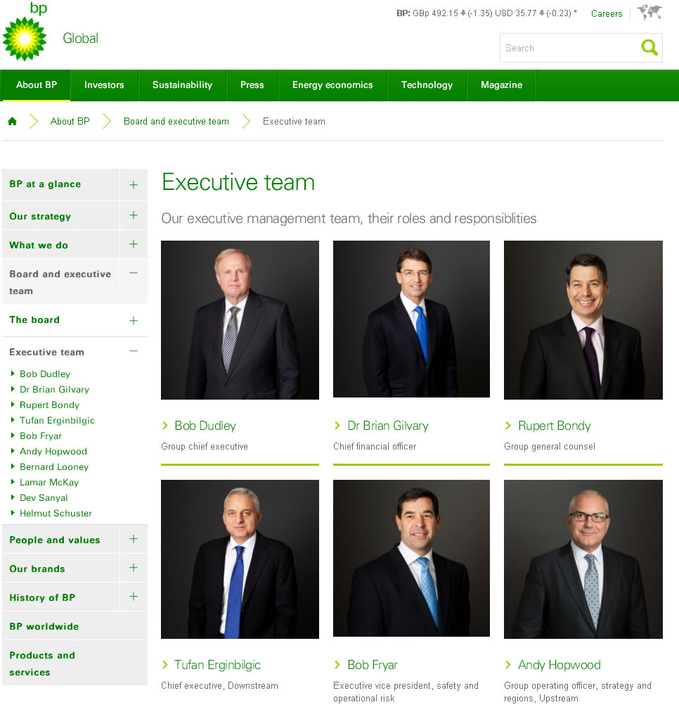 On the BP corporate PR website, you can find any type of executive information, from their studies and career to their hobbies and outside interests