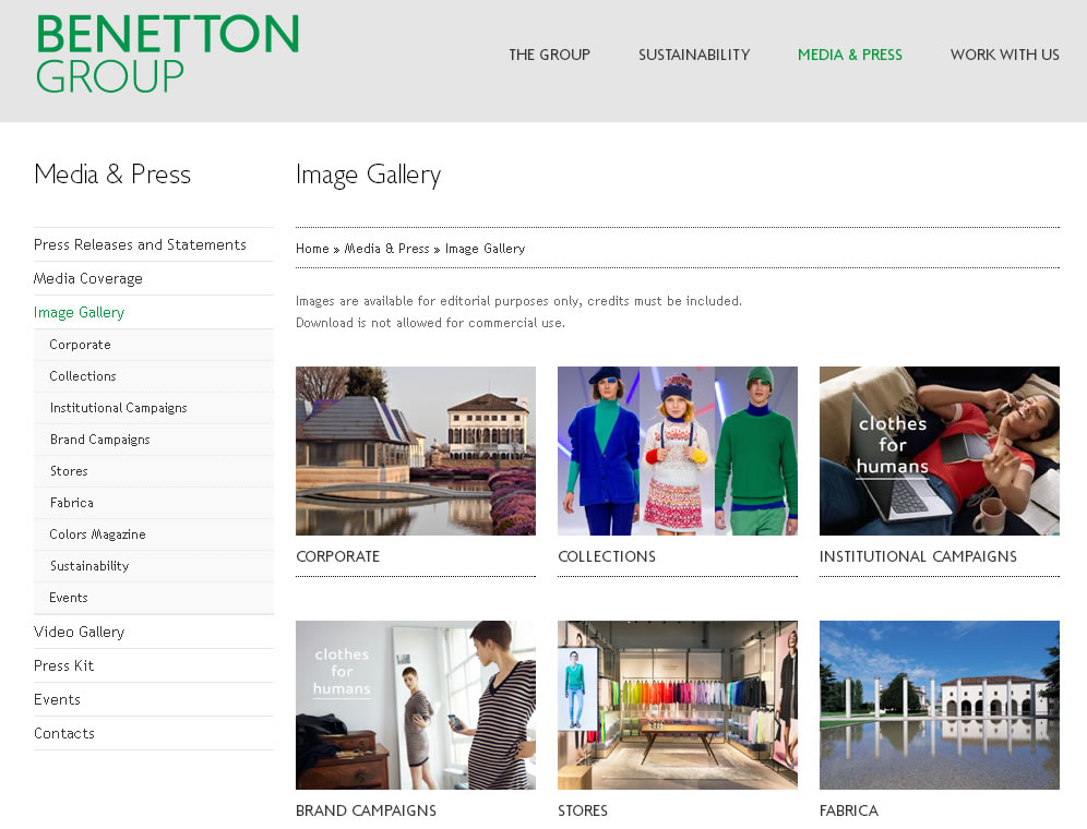 Benetton Photo Galleries in the Press Section