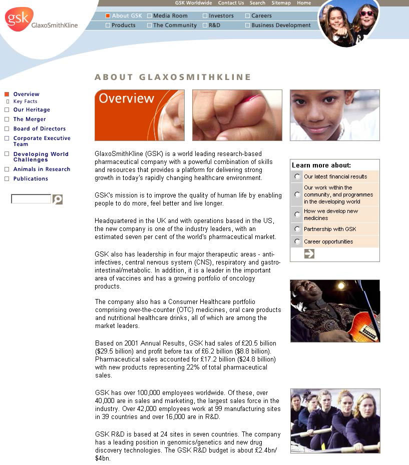The GSK corporate PR website presents an extensive but condensed company profile, that helps journalists to learn everything they need about the company, in only one page.