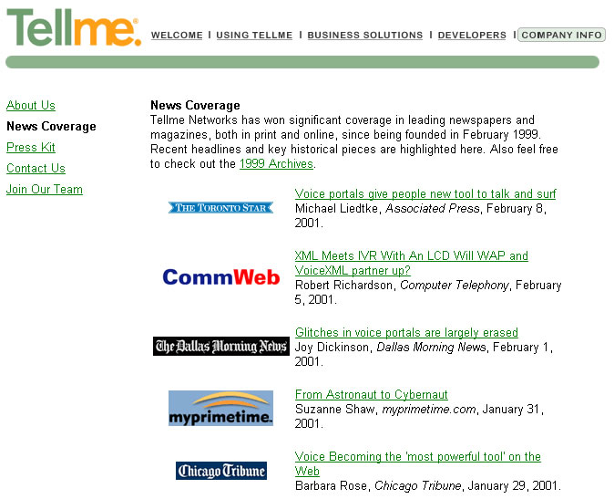 Former Tellme Networks corporate PR website presented a distinct news coverage section. Each news item was properly cited and linked to the source's website.
